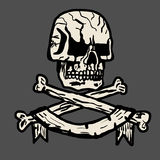 Vector hand-drawn illustration of a pirate skull stock photography