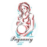 Vector hand-drawn illustration of pregnant elegant woman expecting baby, sketch. Medical rehabilitation and childcare center mark. Eting card stock illustration