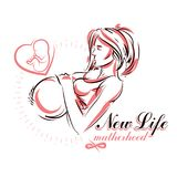 Vector hand-drawn illustration of pregnant elegant woman expecti Stock Photography