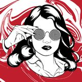 Vector hand drawn illustration of pretty girl in sunglasses. Royalty Free Stock Photos