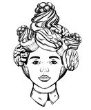 Vector hand drawn illustration of pretty girl with sweets. On head. Surreal tattoo artwork. Template for card, poster, banner, print for t-shirt royalty free illustration