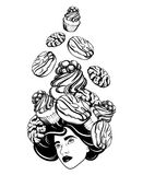 Vector hand drawn illustration of pretty girl with sweets on head. Surreal tattoo artwork. Template for card, poster, banner, print for t-shirt royalty free illustration