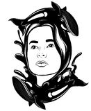 Vector hand drawn illustration of pretty woman with waves and whales . Royalty Free Stock Photography
