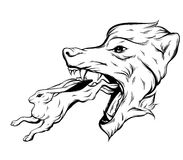 Vector hand drawn illustration of rabbit and big head of angry wolf. Royalty Free Stock Photo