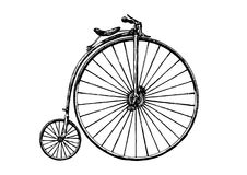 Illustration of retro bicycle. Vector hand drawn illustration of retro bicycle, penny-farthing. Retro bicycle was used in the 1870s stock illustration