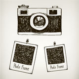 Vector hand drawn illustration with retro vintage Stock Image