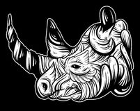 Vector hand drawn  illustration of rhino with decorative elements. Stock Photo