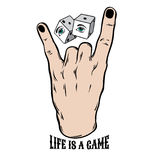 Vector hand drawn illustration of rock hand with dice. Royalty Free Stock Photography