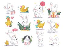 Free Vector Hand Drawn Illustration Set With Cute White Bunny And Yellow Little Duck Isolated On White Background. Royalty Free Stock Image - 148220246