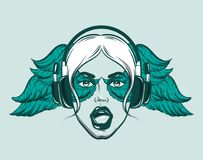 Vector hand drawn illustration of singing girl in headphones. Creative artwork. Hand sketched portrait.  Template for card, poster,banner, print for t-shirt Royalty Free Stock Photo