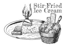 Stir-fried ice cream. Vector hand drawn illustration of Stir-fried ice cream in vintage engraved style. isolated on white background stock illustration