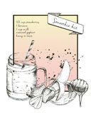 Vector hand drawn illustration of strawberry smoothie recipe. With jar and cocktail tube. Stock Photos