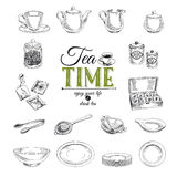 Vector hand drawn illustration with tea set Royalty Free Stock Image