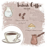 Vector hand drawn illustration of turkish coffee recipe with list of ingredients Royalty Free Stock Images
