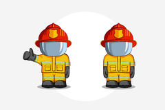 Vector hand drawn illustration. Two Isolated character firefighter in protective suit stands and raises his finger up.. Smoke on a blue background Royalty Free Stock Photography