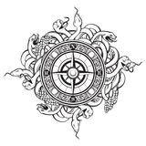Vector hand drawn illustration of vintage compass. And bunch os snakes. Tattoo artwork. Template for card, poster, banner, print for t-shirt Royalty Free Stock Image