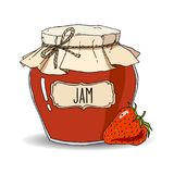Hand drawn strawberry jam jar. Vector hand drawn illustration with vintage strawberry jam jar. Colored sketch isolated over white stock illustration