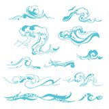 Vector hand drawn illustration of wave silhouette on white background. stock illustration
