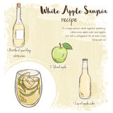 Vector hand drawn illustration of white apple sangria recipe with list of ingredients Royalty Free Stock Photo