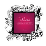 Vector hand drawn illustration of wine and apetizers. Square border composition. Royalty Free Stock Photo