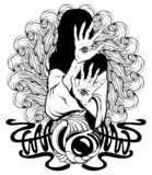 Vector hand drawn illustration of witch with eyes on hands with ornament and details. Creative tattoo artwork. Template for card, poster, banner, print for t royalty free illustration