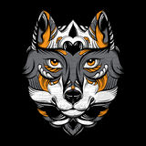 Vector hand drawn  illustration of wolf with decorative elements. Stock Photos