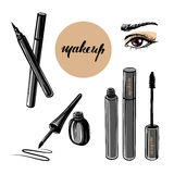 Vector hand drawn illustration of woman eye and makeup elements Royalty Free Stock Photography