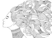 Vector hand drawn illustration woman with floral hair for adult coloring book. Freehand sketch for adult anti stress Stock Photography