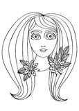 Vector hand drawn illustration woman with long hair for child an Royalty Free Stock Photos