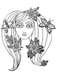Vector hand drawn illustration woman with long hair for child an Royalty Free Stock Photo
