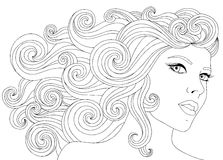 Vector hand drawn illustration woman with waves floral hair for adult coloring book. Freehand sketch for adult anti Stock Photography