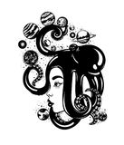 Vector hand drawn illustration of women`s head with octopus, planets stock illustration