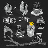 Vector hand drawn illustrations on the chalkboard Royalty Free Stock Images