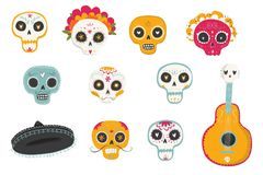 Vector hand drawn illustrations of Mexican holiday `Day of the Dead`. The postcard with traditional sugar skulls, marigold flowers `Dia de los Muertos Stock Image