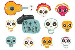 Vector hand drawn illustrations of Mexican holiday Day of the Dead. The postcard with traditional sugar skulls, marigold flowers Dia de los Muertos Royalty Free Stock Photography