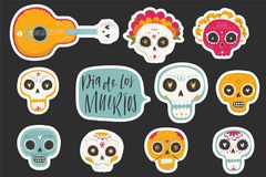 Vector hand drawn illustrations of Mexican holiday `Day of the Dead`. The postcard with traditional sugar skulls, marigold flowers `Dia de los Muertos Stock Photography