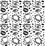 Vector hand drawn ink seamless pattern with woman eye, closed eyes and coffee cup with lipstick. Black and white design for prints royalty free illustration