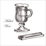Vector hand drawn ink sketch of mulled wine Royalty Free Stock Images