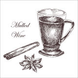 Vector hand drawn ink sketch of mulled wine Royalty Free Stock Image