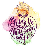 Vector hand drawn inky hearts with lovely letters. Handdrawn vector diy doodle illustration of heart filled with letters. `Your smile sets my heart on fire` Stock Images