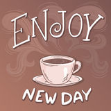 Vector hand drawn inspiration lettering quote - enjoy new day  Stock Photography