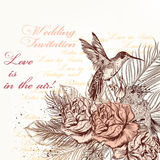 Vector hand drawn invitation design in classic floral style Stock Photos