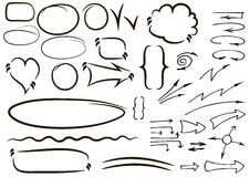 Vector hand drawn isolated sketchy arrows icons set. Hand drawn Stock Photos