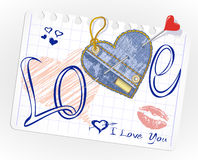 Vector Hand-drawn and jeans hearts in a paper Stock Images