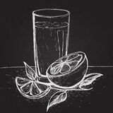 Vector hand drawn juice with slices of orange and leaves on the blackboard Royalty Free Stock Image