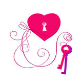 Vector hand drawn key to heart Royalty Free Stock Photos