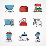 Vector hand drawn kitchen appliances set Stock Photo