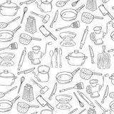 Vector hand drawn kitchen tools seamless pattern. Royalty Free Stock Image