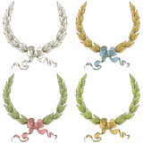 Vector hand drawn laurel wreath with bow Stock Photo