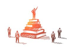 Hand drawn leader standing on books heap tribune. Vector hand drawn Leadership concept sketch with speaker standing on tribune made of books heap with his hand vector illustration